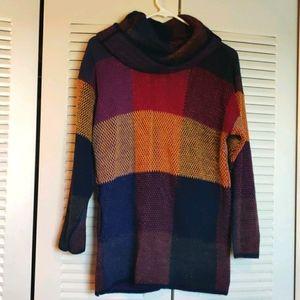 Vintage Cowel Neck Jewel Tone Color Block Sweater